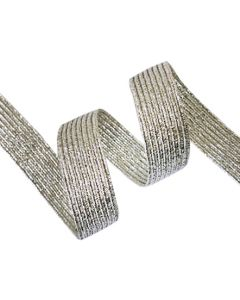 12mm Braided Elastic - Metallic Silver