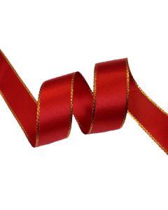 16mm Red Satin Ribbon with Metallic Edge - Gold (250)