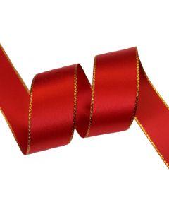 22mm Red Satin Ribbon with Metallic Edge - Gold (250)