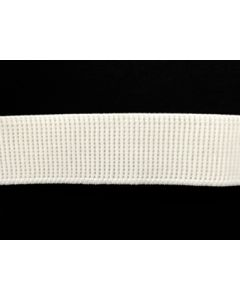 25mm Ribbed Elastic - White (Non Roll)