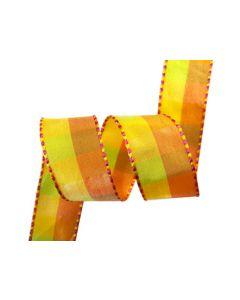 25mm Gingham Ribbon - Multi Orange