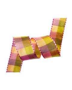 25mm Gingham Ribbon - Multi Pink