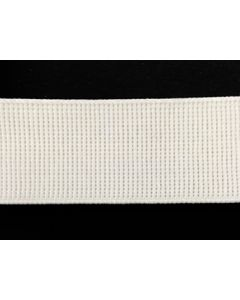 38mm Ribbed Elastic - White (Non Roll)