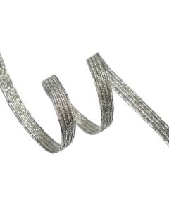 6mm Braided Elastic - Metallic Silver