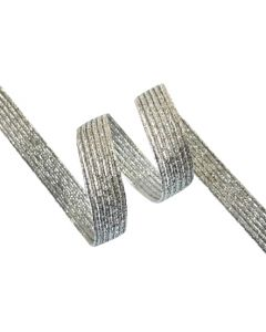 9mm Braided Elastic - Metallic Silver