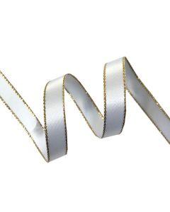 9mm White Satin Ribbon with Metallic Edge - Gold (029)
