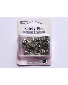 Hemline Silver Assorted Safety Pins (D)