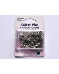 Hemline Silver Assorted Safety Pins (D)