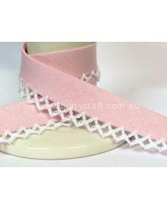 Plain Picot Bias Binding - Powder Pink / White