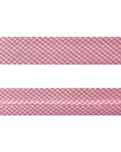 25mm SF Bias Binding - Gingham (Pink)