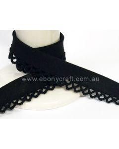 Plain Picot Bias Binding - Black