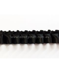 25mm Box Pleating Satin - Black (030)