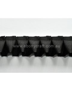 25mm Box Pleating Grosgrain Black