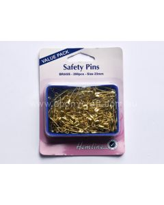 Hemline Brass Safety Pins (Value Pack) (N)