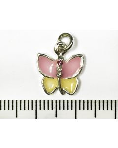Butterfly Charm - Pink and Lemon