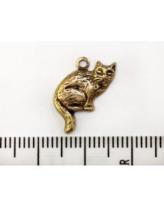 Gold Cat Charm - Small Right Facing