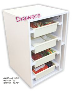 Horn Elements Cabinet - Sewing Drawer -  White with 4 Tubs