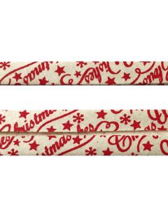 25mm Double Folded Bias Binding - Red Christmas Wishes on Natural Seeded