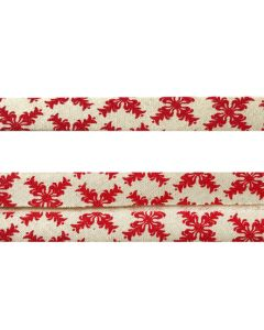 25mm Double Folded Bias Binding - Red Snowflakes on Natural Seeded