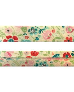 25mm SF Bias Binding - Enchanted Forest (Enchanted Blooms - Cream)