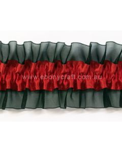 Gartering Red Satin / Black Organza