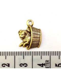 Gold Dog Basket Charm - Medium