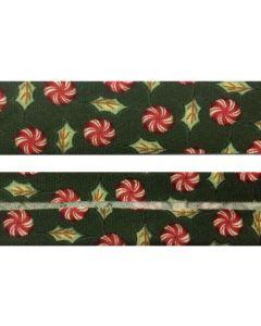 25mm SF Bias Binding - Christmas Green Peppermint