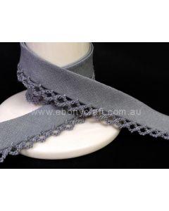 Plain Picot Bias Binding - Grey