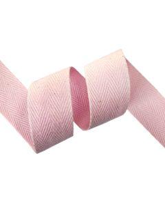 25mm Herringbone Tape (Cotton) - Baby Pink