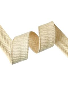 25mm Herringbone Tape (Cotton) - Natural Seeded