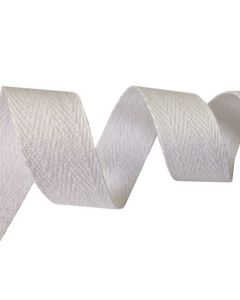 25mm Herringbone Tape (Cotton) - White