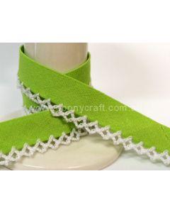 Plain Picot Bias Binding - Lime / White