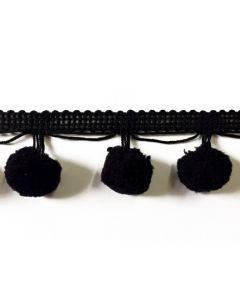 LARGE Pom Pom Fringe (20mm) - Black