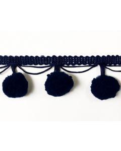 LARGE Pom Pom Fringe (20mm) - Navy