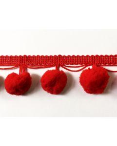 LARGE Pom Pom Fringe (20mm) - Red