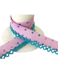 NEW Printed Crochet Bias Binding - Pink Aqua Spots with Aqua Trim