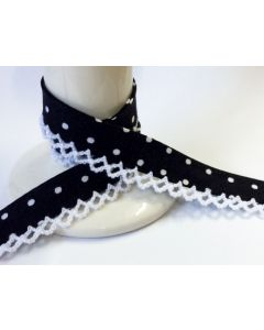Printed Crochet Bias Binding - Black with White Spot / White