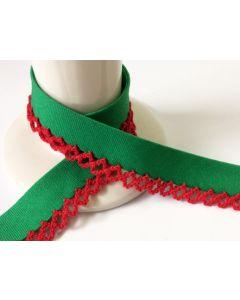 Plain Crochet Bias Binding - Emerald with Red Trim