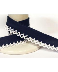 Plain Picot Bias Binding - Navy / White
