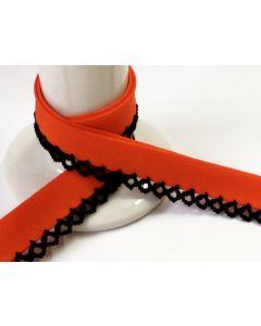 Plain Crochet Bias Binding -Orange with Black Trim
