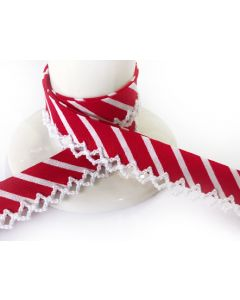 NEW Printed Crochet Bias Binding - Thick Red Stripe with White Trim