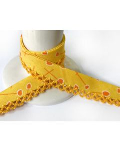 Printed Crochet Bias Binding - Yellow Pins with Yellow Trim