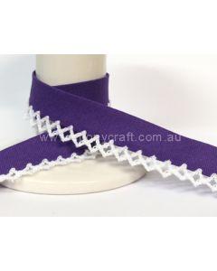 Plain Picot Bias Binding - Purple / White