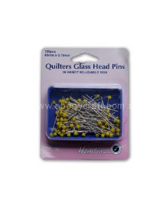 Hemline Quilters Glass Head Pins (Box) (M)