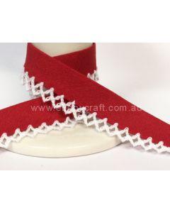 Plain Picot Bias Binding - Red / White