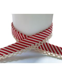 Printed Picot Bias Binding - Red/Natural Stripes with Natural Trim