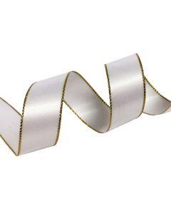 16mm White Satin Ribbon with Metallic Edge - Gold (029)