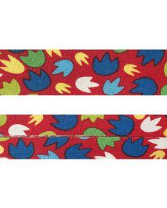 25mm SF Bias Binding - Dandy Dino Paw Prints (Red)