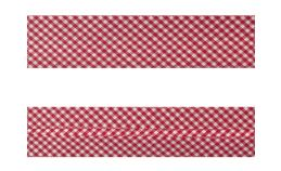 25mm SF Bias Binding - Gingham (Red)